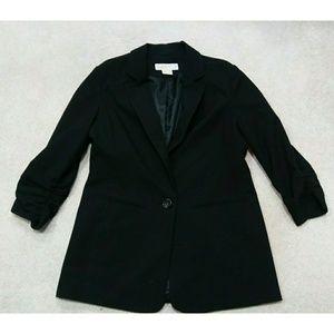 MICHAEL KORS Black Ruffle Sleeve Blazer